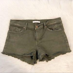 7FAM Olive Green Distressed Denim Cutoff Shorts